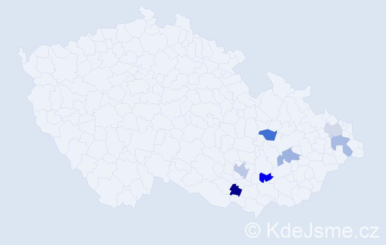 Příjmení: 'Bajerka', počet výskytů 8 v celé ČR