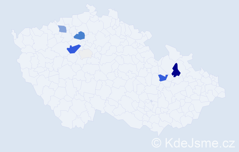 Příjmení: 'Bakalár', počet výskytů 22 v celé ČR