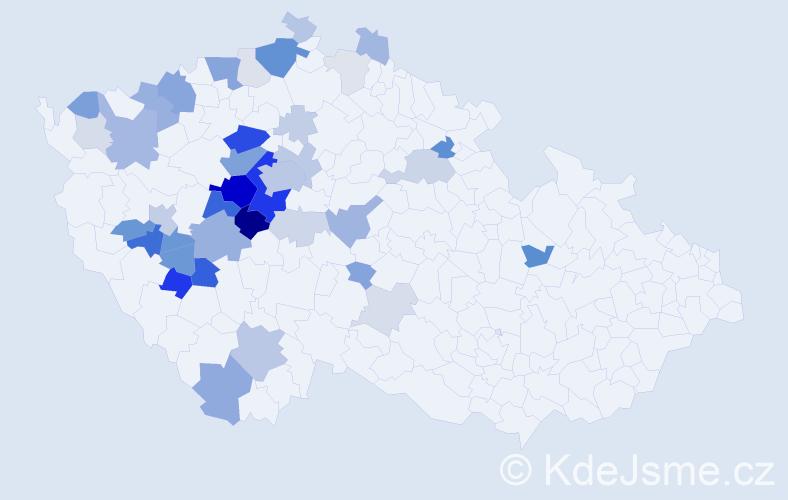 Příjmení: 'Kácha', počet výskytů 129 v celé ČR