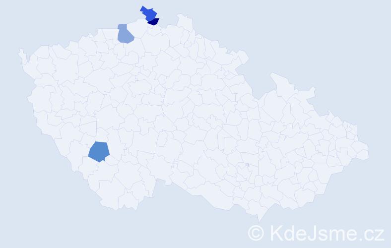 Příjmení: 'Kellnar', počet výskytů 4 v celé ČR