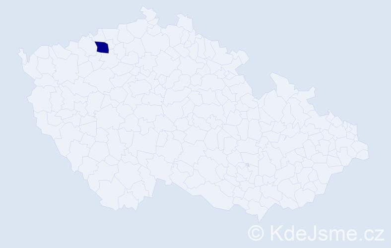 """Příjmení: '""""Komrzý Chládková""""', počet výskytů 1 v celé ČR"""