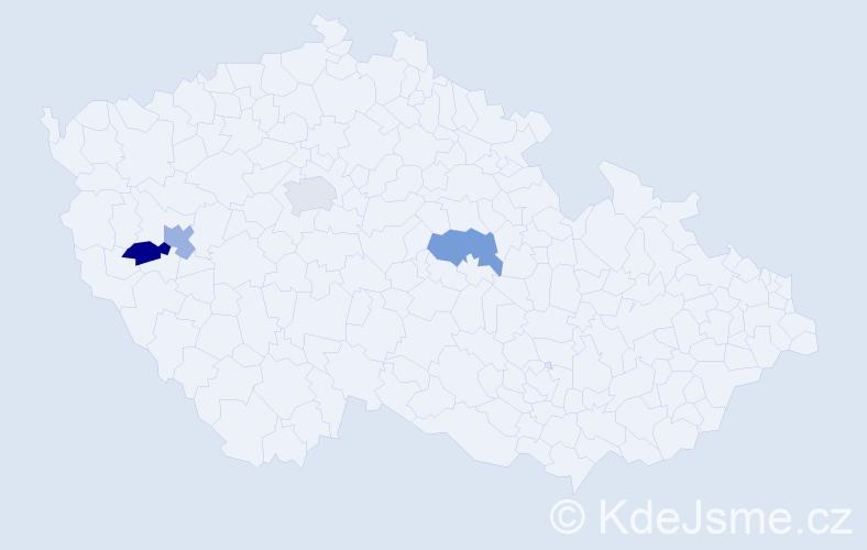 Příjmení: 'Děťák', počet výskytů 4 v celé ČR