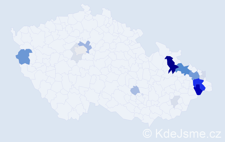Příjmení: 'Hlista', počet výskytů 66 v celé ČR