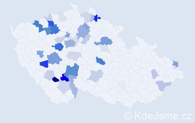 Příjmení: 'Lálová', počet výskytů 147 v celé ČR