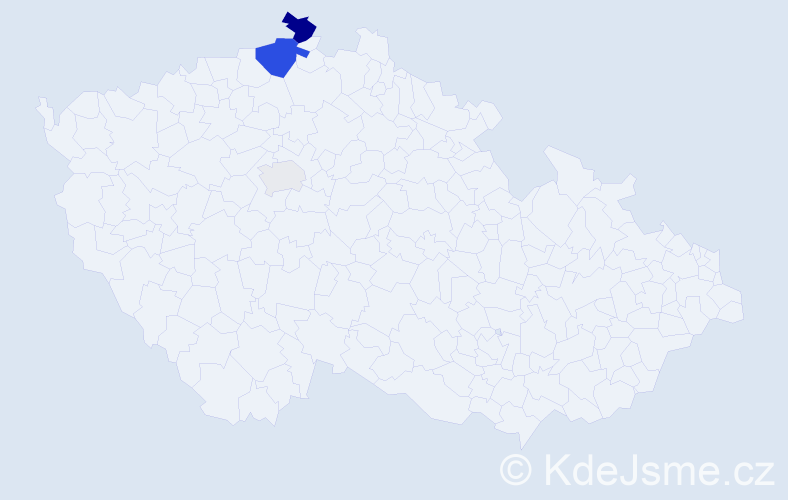 Příjmení: 'Kýnl', počet výskytů 8 v celé ČR