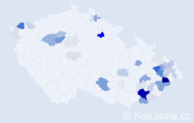 Příjmení: 'Kedroň', počet výskytů 153 v celé ČR