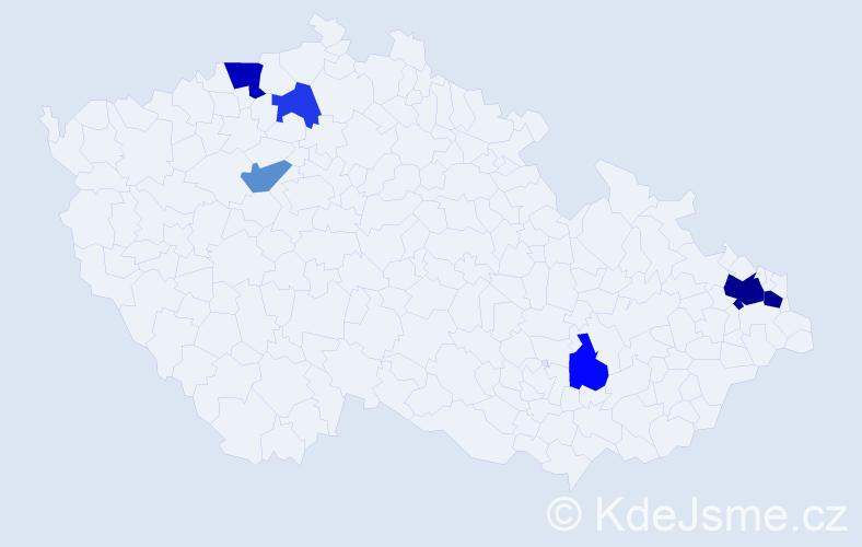 Příjmení: 'Čigáš', počet výskytů 12 v celé ČR