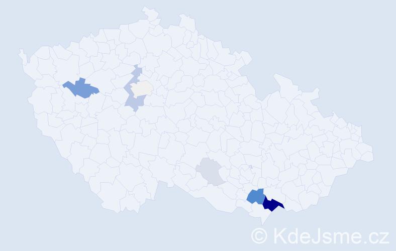 Příjmení: 'Hnidáková', počet výskytů 32 v celé ČR