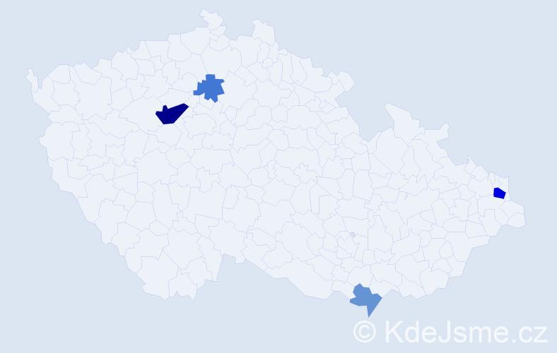 Příjmení: 'Fečkaninová', počet výskytů 9 v celé ČR