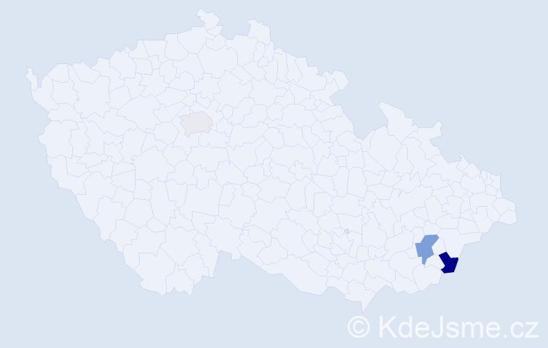"""Příjmení: '""""Al-Hajjar""""', počet výskytů 5 v celé ČR"""