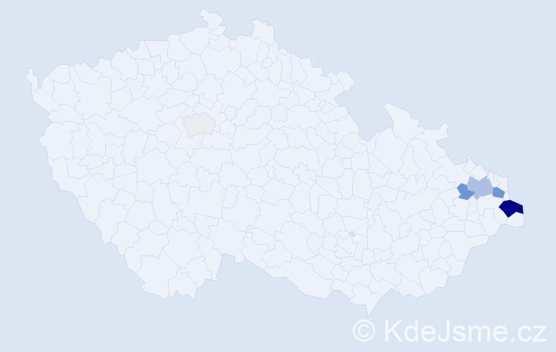 Příjmení: 'Kičerka', počet výskytů 14 v celé ČR