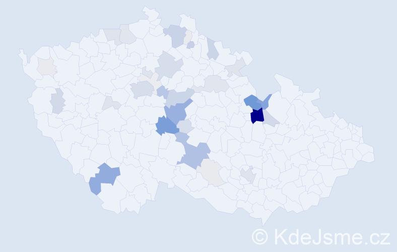 Příjmení: 'Jandejsková', počet výskytů 148 v celé ČR