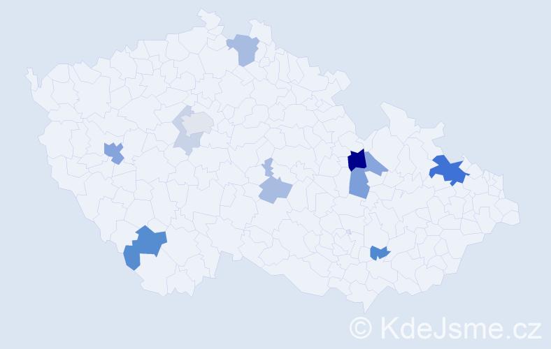 Příjmení: 'Křižanovský', počet výskytů 25 v celé ČR