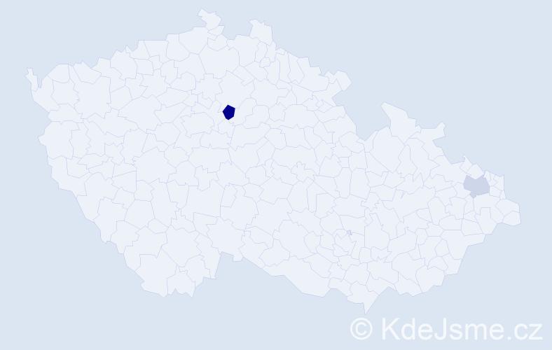 """Příjmení: '""""Bio Sounon""""', počet výskytů 5 v celé ČR"""