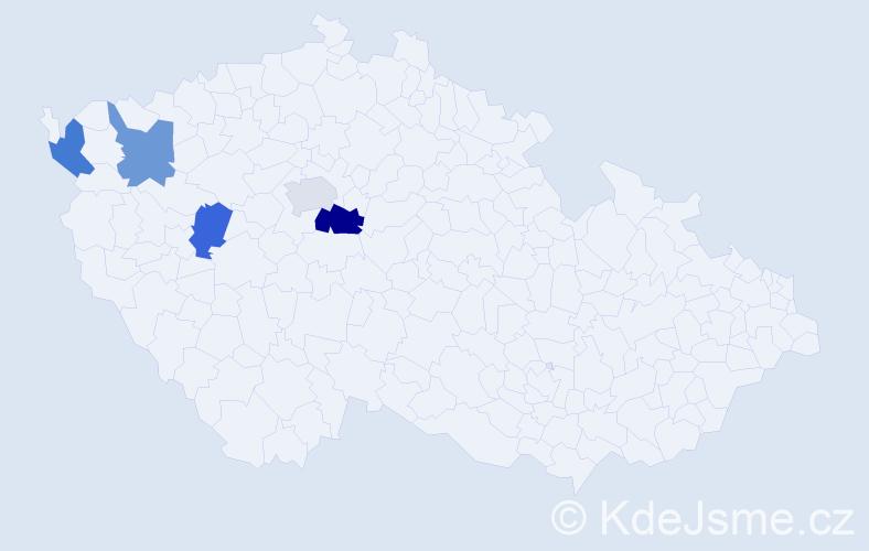 Příjmení: 'Kvartková', počet výskytů 6 v celé ČR