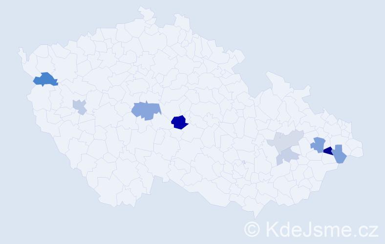 Příjmení: 'Bobiš', počet výskytů 17 v celé ČR