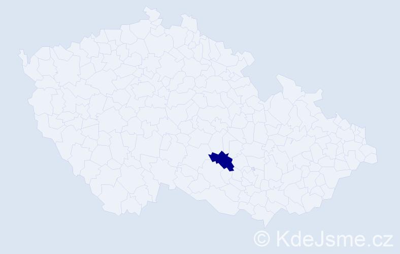 """Příjmení: '""""Hamáčková Semrádová""""', počet výskytů 1 v celé ČR"""