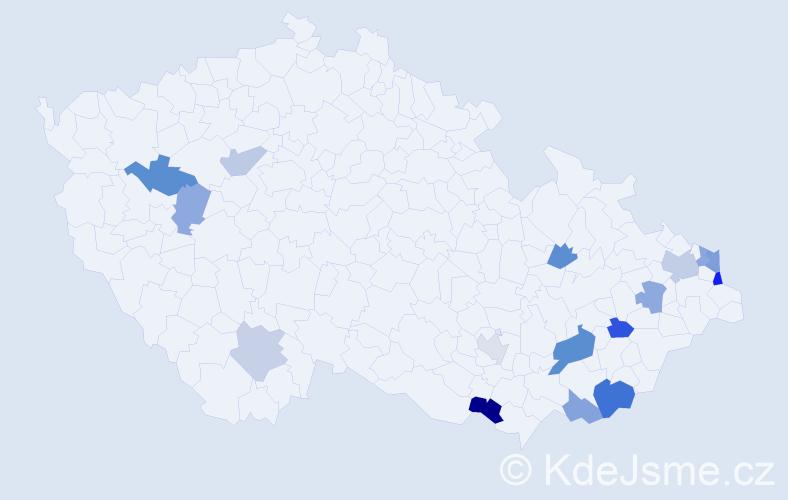 Příjmení: 'Kadlicová', počet výskytů 24 v celé ČR