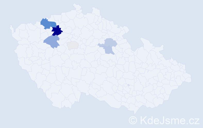 Příjmení: 'Čimperová', počet výskytů 14 v celé ČR