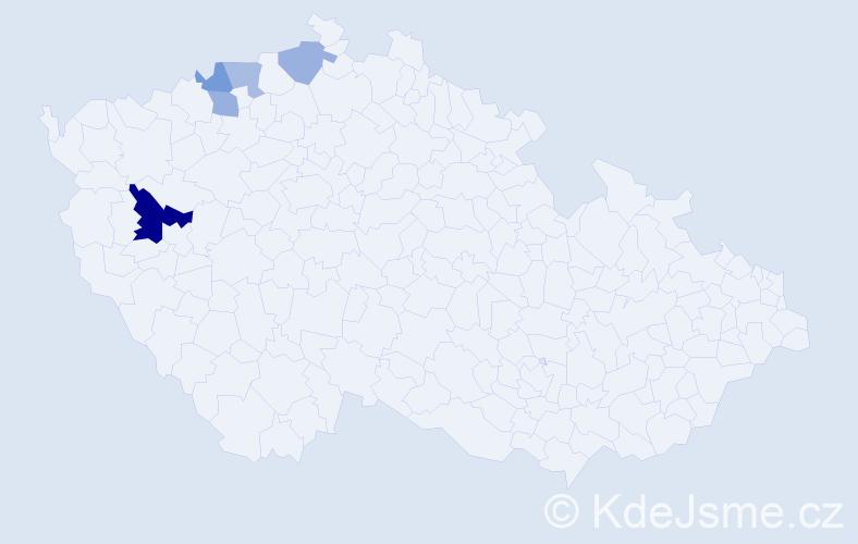 Příjmení: 'Magyár', počet výskytů 8 v celé ČR
