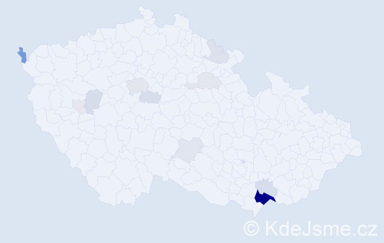 Příjmení: 'Goldschmiedová', počet výskytů 37 v celé ČR