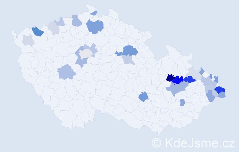 Příjmení: 'Capková', počet výskytů 78 v celé ČR
