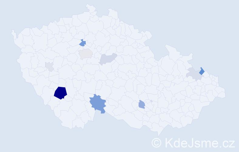 Příjmení: 'Kazbunda', počet výskytů 24 v celé ČR