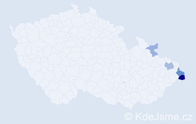 Příjmení: 'Cieciotková', počet výskytů 12 v celé ČR