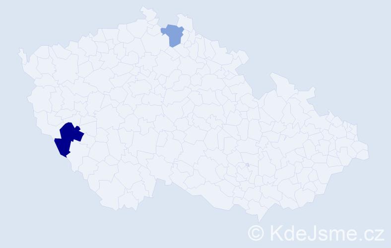 Příjmení: 'Helmberger', počet výskytů 3 v celé ČR