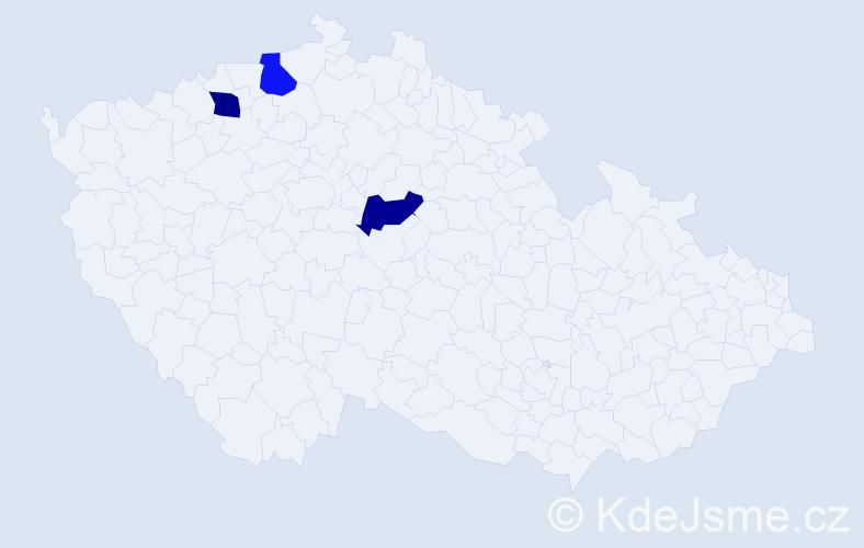 Příjmení: 'Janošo', počet výskytů 3 v celé ČR