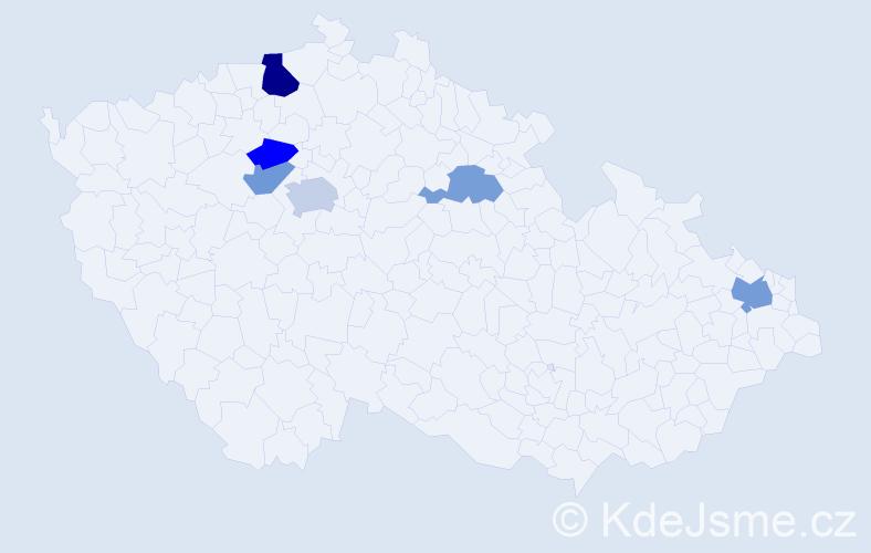 Příjmení: 'Hajnišová', počet výskytů 10 v celé ČR