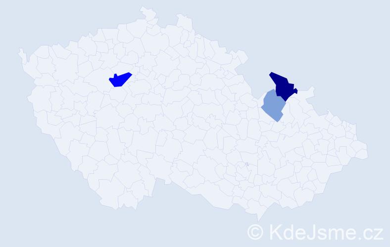 Příjmení: 'Gadži', počet výskytů 29 v celé ČR