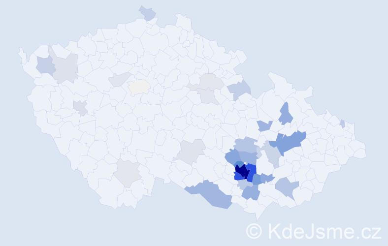 Příjmení: 'Čoupek', počet výskytů 136 v celé ČR