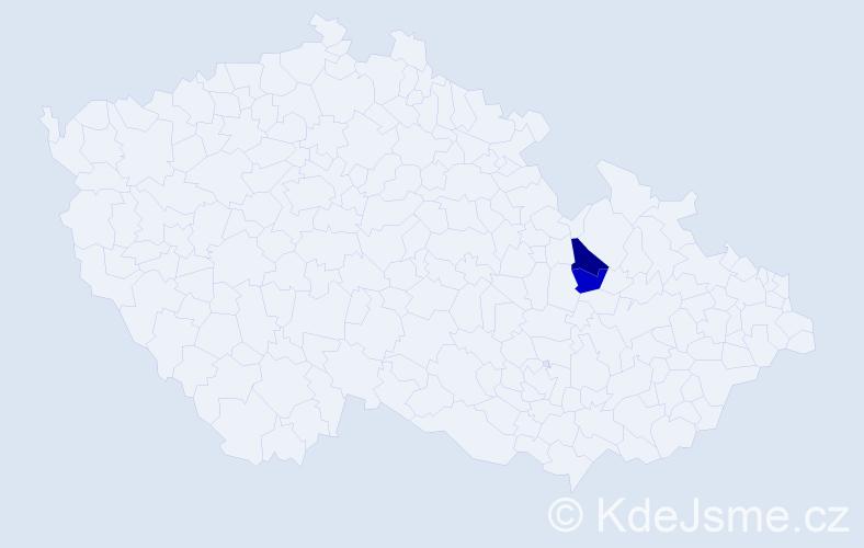 Příjmení: 'Horneš', počet výskytů 9 v celé ČR
