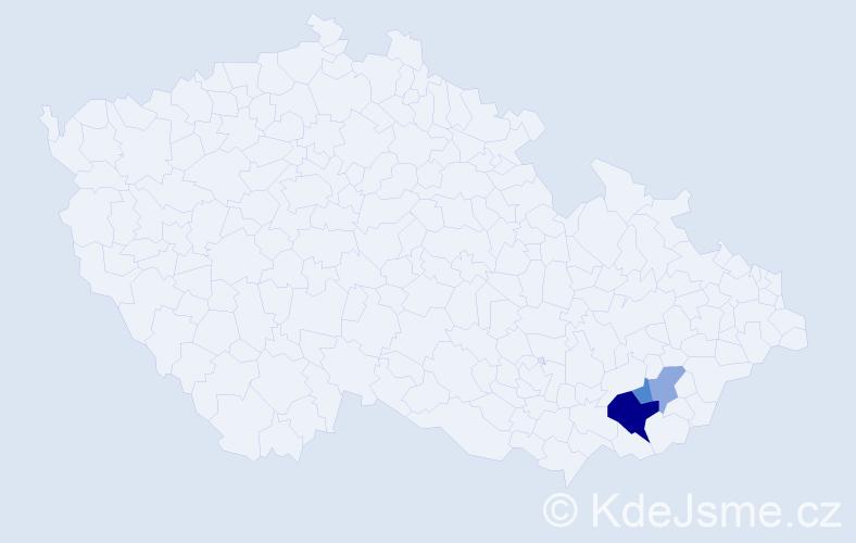 Příjmení: 'Jahodík', počet výskytů 13 v celé ČR