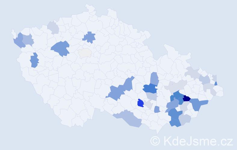 Příjmení: 'Kalabus', počet výskytů 73 v celé ČR