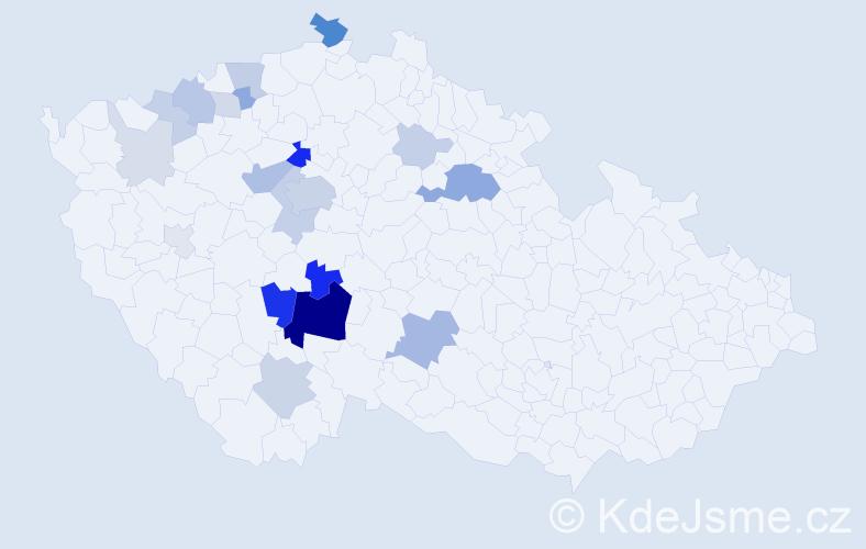Příjmení: 'Klicmanová', počet výskytů 69 v celé ČR