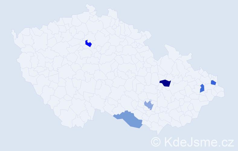Příjmení: 'Jadvidžák', počet výskytů 8 v celé ČR