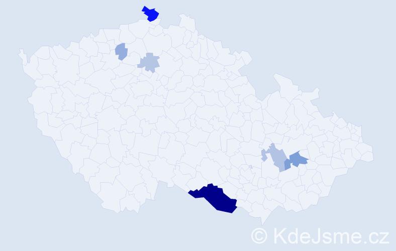 Příjmení: 'Hrobár', počet výskytů 28 v celé ČR