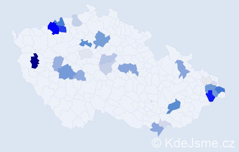 Příjmení: 'Bucha', počet výskytů 101 v celé ČR