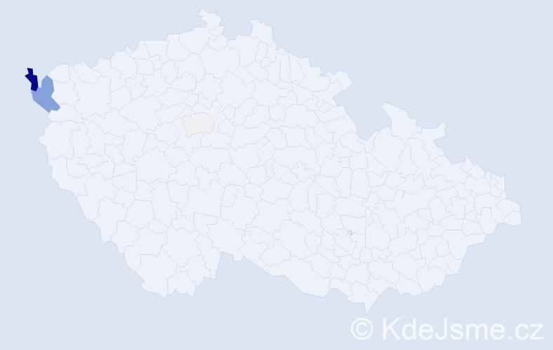 Příjmení: 'Elizeus', počet výskytů 13 v celé ČR