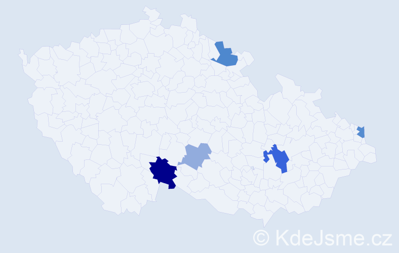 Příjmení: 'Cekulová', počet výskytů 11 v celé ČR
