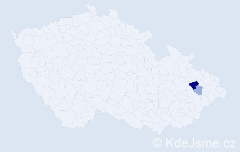 Příjmení: 'Dahm', počet výskytů 3 v celé ČR
