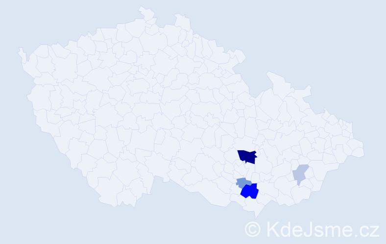 Příjmení: 'Aleksová', počet výskytů 11 v celé ČR