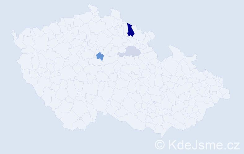 Příjmení: 'Karavan', počet výskytů 6 v celé ČR