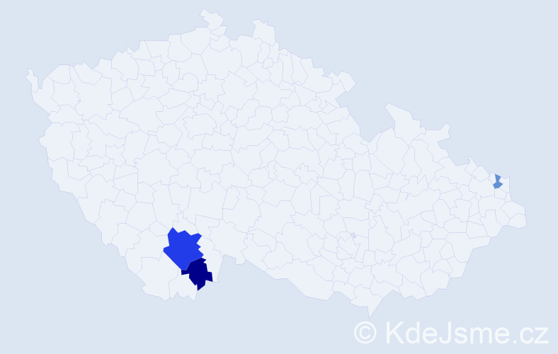 Příjmení: 'Cibranský', počet výskytů 6 v celé ČR