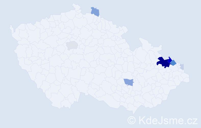 Příjmení: 'Hanslik', počet výskytů 27 v celé ČR