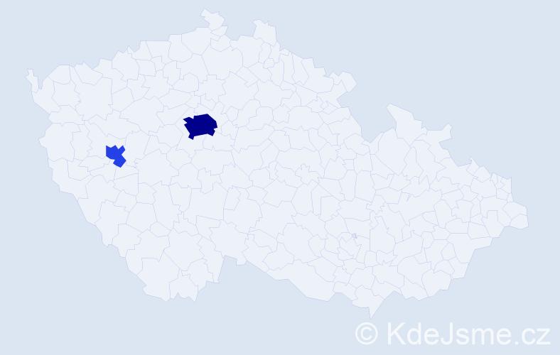 Příjmení: 'Aguirre', počet výskytů 9 v celé ČR