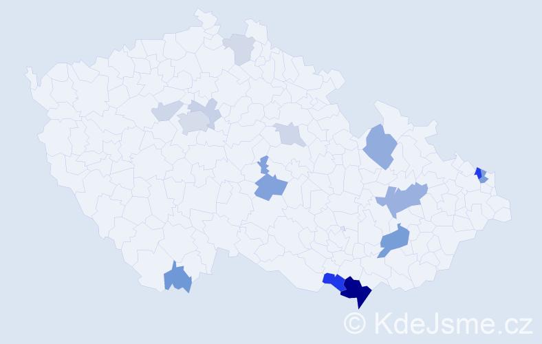 Příjmení: 'Bartal', počet výskytů 37 v celé ČR