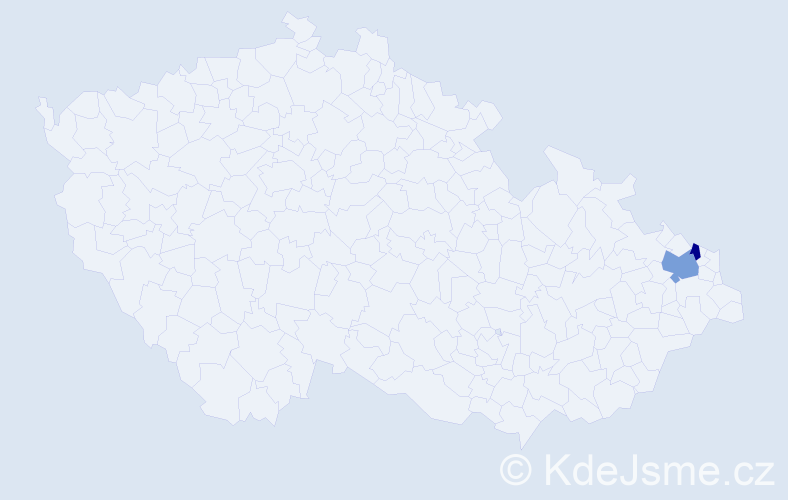 Příjmení: 'Celarková', počet výskytů 3 v celé ČR